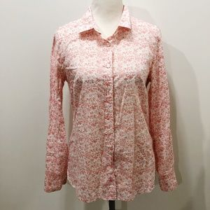 J CREW S The Perfect Shirt Orange White Floral